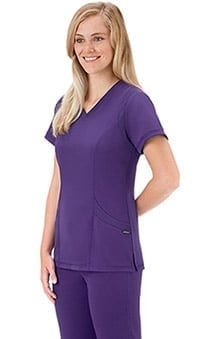 Modern Fit Collection by Jockey Women's Mesh Trim V-Neck Solid Scrub Top