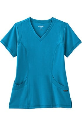 Clearance Modern Fit Collection by Jockey® Women's Mesh Trim V-Neck Solid Scrub Top