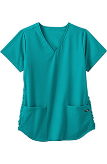 Classic Fit Collection by Jockey® Scrubs Women's V-Neck Solid Scrub Top With Ruching
