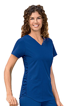 Classic Fit Collection by Jockey Women's V-Neck Solid Scrub Top With Ruching