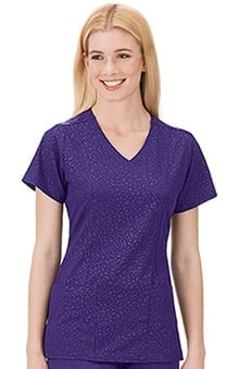 Classic Fit Collection by Jockey Women's Tonal Embossed Solid Scrub Top