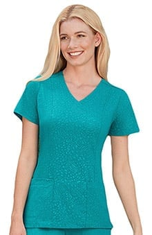 Clearance Classic Fit Collection by Jockey® Scrubs Women's Solid Illusion™ Tonal Embossed Solid Scrub Top