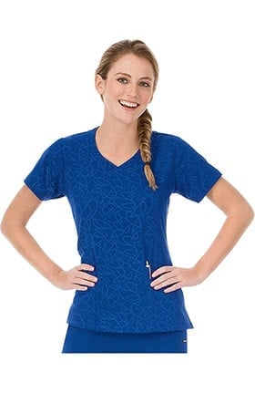 Modern Fit Collection by Jockey® Women's Solid Illusion™ Teardrop Pattern V-Neck Scrub Top