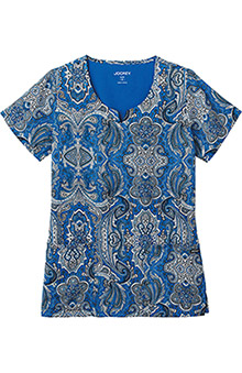 Clearance Jockey Scrubs Women's Split Neck Lotus Paisley Royal Print Top