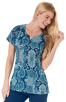 Clearance Jockey Scrubs Women's Split Neck Lotus Paisley Navy Print Top