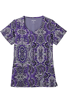 Clearance Jockey Scrubs Women's Split Neck Lotus Paisley Purple Print Top