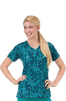 Clearance Classic Fit Collection by Jockey® Scrubs Women's V-Neck Wild Cat Print Top