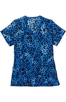 Clearance Jockey Scrubs Women's V-Neck Wild Cat Royal Print Top