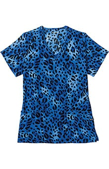 Clearance Classic Fit Collection by Jockey® Scrubs Scrubs Women's V-Neck Wild Cat Royal Print Top