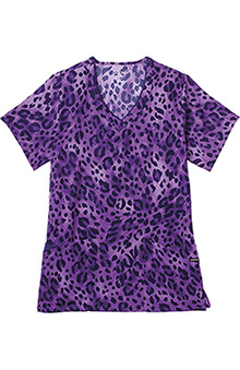 Clearance Jockey Scrubs Women's V-Neck Wild Cat Purple Print Top