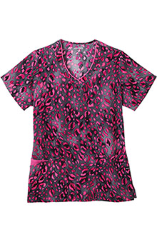 Jockey Scrubs Women's V-Neck Wild Cat Pink Print Top