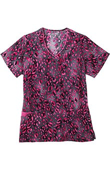 Clearance Jockey Scrubs Women's V-Neck Wild Cat Pink Print Top
