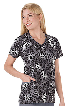 Clearance Jockey Scrubs Women's V-Neck Wild Cat Grey Print Top