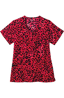 Jockey Scrubs Women's V-Neck Wild Cat Red Print Top