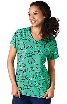 Classic Fit Collection by Jockey® Scrubs Women's V-Neck Abstract Print Scrub Top