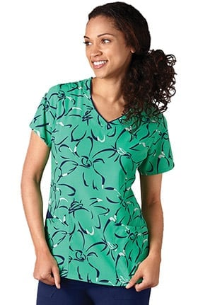Clearance Classic Fit Collection by Jockey® Women's V-Neck Abstract Print Scrub Top