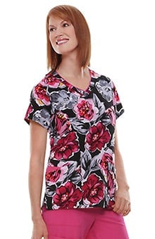 Jockey® Scrubs Women's V-Neck Abstract Print Scrub Top
