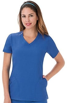 Classic Fit Collection By Jockey Women's Side Panel V-Neck Solid Scrub Top