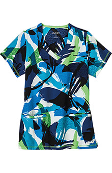 Classic Fit Collection by Jockey Womens V-Neck Abstract Print Scrub Top