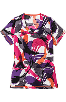 Classic Fit Collection by Jockey Women's V-Neck Abstract Print Scrub Top