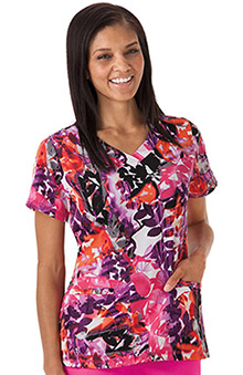 Modern Fit Collection By Jockey® Scrubs Women's V-Neck Floral Print Scrub Top