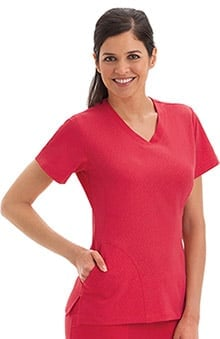 Classic Fit Collection By Jockey Women's Illusion V-Neck Solid Scrub Top
