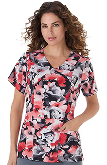 Classic Fit Collection By Jockey Women's Mock Wrap Floral Print Scrub Top