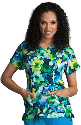 Classic Fit Collection By Jockey® Women's Mock Wrap Floral Print Scrub Top