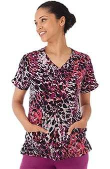 Classic Fit Collection by Jockey® Scrubs Women's Mock Wrap Animal Print Scrub Top