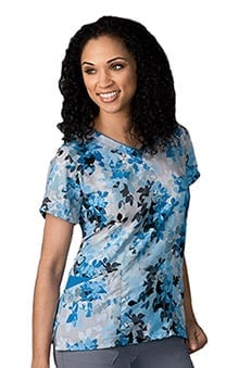 Classic Fit Collection By Jockey® Scrubs Women's Mock Wrap Floral Print Scrub Top