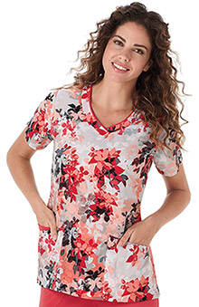 Classic Fit Collection By Jockey Women's Mock Wrap Leaves Print Scrub Top