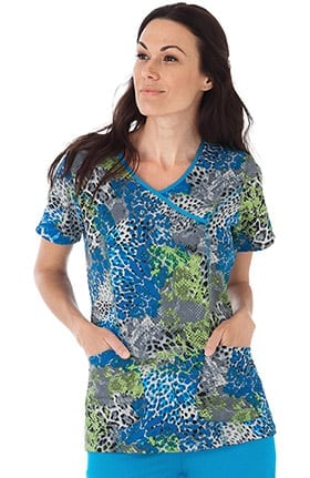 Classic Fit Collection by Jockey® Women's Mock Wrap Animal Print Scrub Top