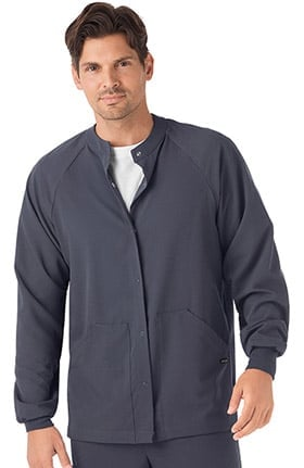 Classic Fit Collection by Jockey® Unisex Snap Front Warm Up Solid Scrub Jacket