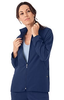 Classic Fit Collection by Jockey® Scrubs Women's Quilted Zip Front Warm Up Solid Scrub Jacket
