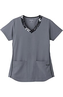 Classic Fit Collection by Jockey® Scrubs Women's V-Neck Animal Print Scrub Top
