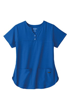 Classic Fit Collection by Jockey® Women's Button Notch Neck Shirttail Solid Scrub Top