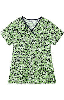 Bio Womens Crossover V-Neck Animal Print Scrub Top