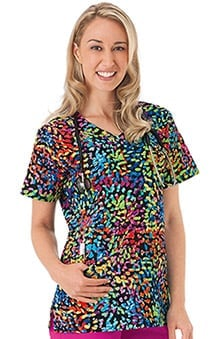 Bio Women's V-Neck Dots Print Scrub Top