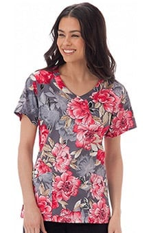 Bio Women's V-Neck Floral Print Scrub Top