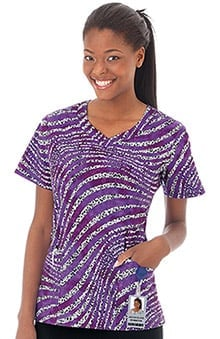 Bio Women's V-Neck Animal Stripe Print Scrub Top