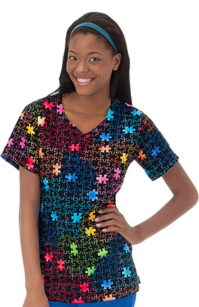 Clearance Bio Women's Overlap V-Neck Puzzle Print Scrub Top