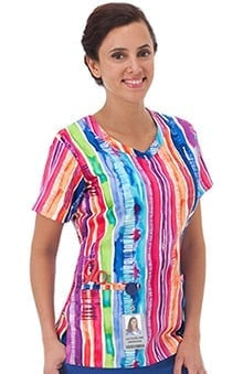 Bio Women's Overlap V-Neck Stripe Print Scrub Top