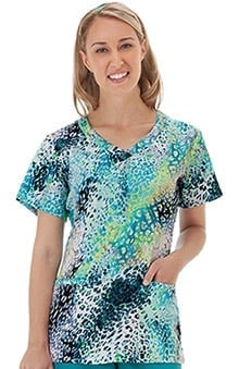 Bio Women's Overlap V-Neck Animal Print Scrub Top