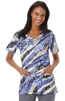 Bio Women's Curved V-Neck Animal Print Scrub Top