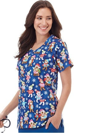 Bio Women's V-Neck Holiday Bear Print Scrub Top