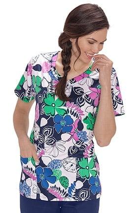 Bio Women's V-Neck Floral Print Scrub Top