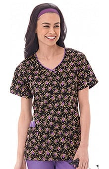 Bio Women's V-Neck Spider Print Scrub Top