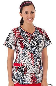Bio Women's Contrast Edge V-Neck Animal Print Scrub Top