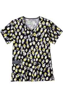 Clearance Bio Womens Contrast Edge V-Neck Dot Print Scrub Top