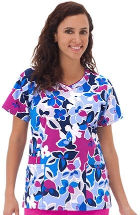 Clearance Bio Women's Contrast Edge V-Neck Floral Print Scrub Top